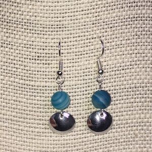 Handcrafted blue glass earrings